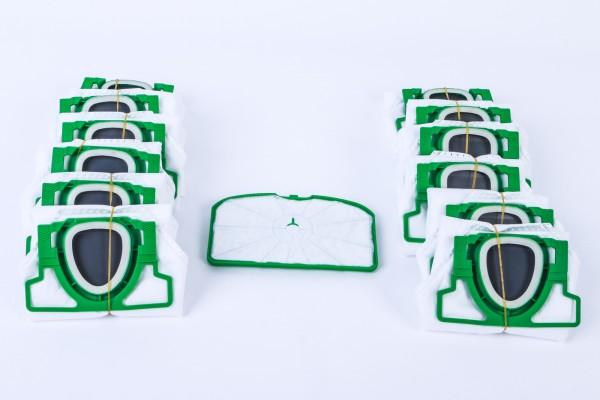 Sparset geeignet für Kobold 200 : 12 Staubsaugerbeutel + Motorfilter